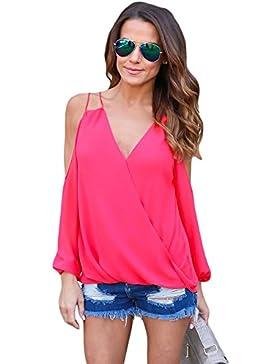 Camiseta de tirantes con cuello en V y hombros fríos, color rosa, para fiestas, uso informal, verano, talla 2XL
