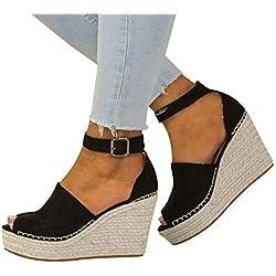 Fannyfuny Zapatos de Verano Sandalias Mujer Zapatos Tacon Mujer Cuña Casuales Zapatillas de Cuña para Mujeres Primavera Verano Tacón Cuña Zapatos de Fiesta