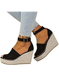 8264bc6a3b25 Zapatos Mujer Tacon Fiesta ♡♡Fannyfuny♡ Sandalias Mujer Zapatillas de Cuña  para Mujeres Zapatillas Casual Zapatillas Altas Primavera…