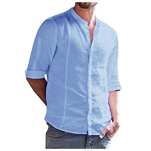 Blue Chambray Work Shirt (CuteRose Men Cotton Linen Blouse T-Shirt Tops Single Breasted Dress Shirts Light Blue L)