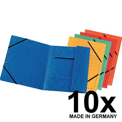 Falken Premium Einschlagmappe aus extra starkem Colorspan-Karton mit 3 Innenklappen DIN A4 mit 2 Gummizügen farbig sortiert 10er Pack Juris-Mappe Sammelmappe Dokumentenmappe ideal fürs Büro und die mobile Organisation