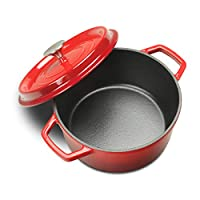 EDGING COOKWARE Enameled Cast Iron Dutch Oven, Large Loop Handles & Self-Basting Condensation Ridges On Lid, 3.5QT, Red