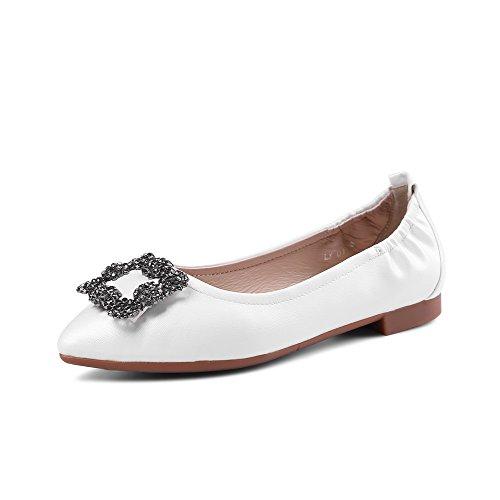 VogueZone009 Femme Pointu à Talon Bas Matière Mélangee Couleur Unie Tire Chaussures Légeres Blanc
