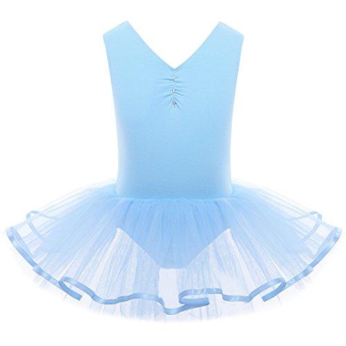 Kleid Ballett Kostüm (YiZYiF Mädchen Ballettanzug Ballettkleid Ballett Trikot Turnanzug Mädchen Kleider 98 104 110 116 122 128 140 152 164 (110-116, V-Ausschnitt ( Blau)