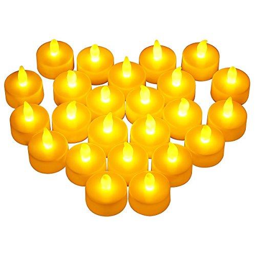 Cookey Lot de 24 Bougies LED à Pile Bougies à LED Fausses Bougies électriques pour Votive Anniversaire Mariage fête Noël (Ambre Jaune)