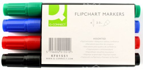 q-connect-flipchart-marker-pens-bullet-tip-kf01551-assorted-colours-pack-of-4