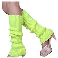 Calentadores de pierna - SODIAL(R)Calentadores de pierna sin pies tejidos de Color solido de mujer Amarillo fluorescente