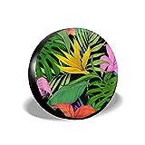 Vbnbvn Housses de pneus Flowers Art Polyester Universal Waterproof Sunscreen Wheel...