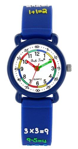 Pacific Time Kinder-Armbanduhr Rechnen 1×1 Jungen Mädchen Armbanduhr Analog Quarz blau 20554