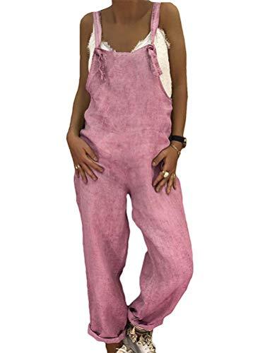 Spandex-stretch-bib (Tomwell Damen Beiläufig Latzhose Jumpsuits Bib Hose Leinen Casual Loose Overall Lange Wide Leg Hosen Rosa DE 44)