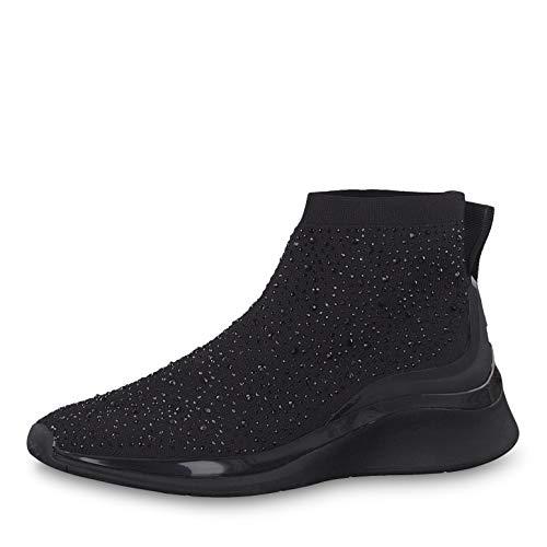 Tamaris Damen Sneaker 25403-23, Frauen Slip-On Sneaker, weibliche Ladies feminin elegant Women's Women Woman Freizeit leger,Black Uni,37 EU / 4 UK