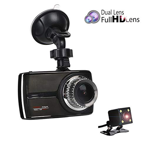 1080P Dual Camera Dash Cam Enregistrement en boucle de vision nocturne en boucle à angle droit 170 °, HDR, Moniteur de stationnement, Détection de mouvement
