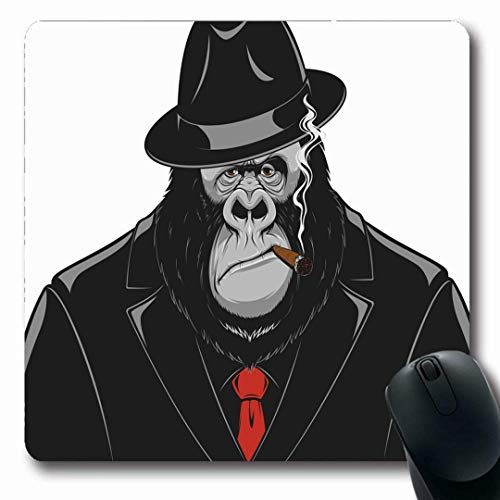 Mousepads Natur Red Mafia Monkey Anzug Gangster Gorilla Killer Cigar Hat Lustiger AFFE Retro Design Gefahr rutschfeste Gaming Mouse Pad Gummi-Matte (Monkey Designs Red)