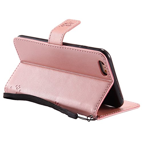 iPhone 6S Plus Étui,JAWSEU iPhone 6 Plus/6S Plus 5.5 Coque en Cuir Portefeuille Housse Luxe Mode Wallet Pu Case iPhone 6 Plus Etui à Rabat Magnétique Housse Etui de Protection Folio Bookstyle Case élé rose or*chat