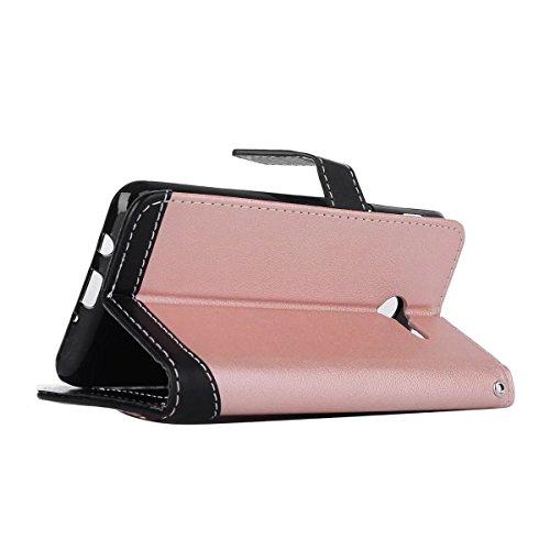 Bookstyle Horizontale Flip Stand Case Litchi Texture Dual Farbe genäht PU Leder Tasche mit Lanyard & Niet Button für Samsung Galaxy J5 2017 ( Color : Red ) Pink