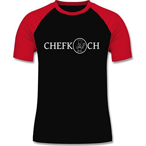 Küche - Chefkoch - zweifarbiges Baseballshirt für Männer Schwarz/Rot