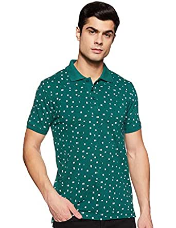 Amazon Brand - Symbol Men's Printed Regular fit Polo (AW19POLO04_Deap Teal S)