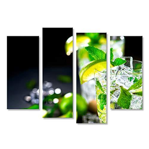bilderfelix® Bild auf Leinwand Mojito-Cocktail auf einem Tisch. Sommercocktail mit Rum, Kalk, Minze, Eiswürfeln und braunem Zucker Wandbild, Poster, Leinwandbild KVR -