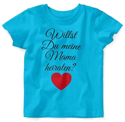 Mikalino Baby/Kinder T-Shirt mit Spruch für Jungen Mädchen Unisex Kurzarm Willst Du Meine Mama heiraten ? | handbedruckt in Deutschland | Handmade with Love, Farbe:Atoll, Grösse:80/86