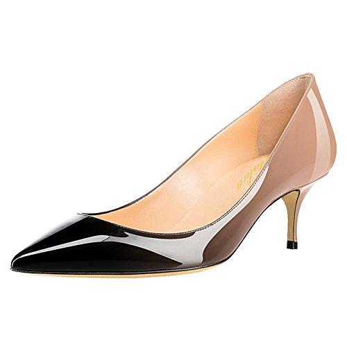 Lutalica Frauen Lackleder Spitzschuh Kitten Heel Hochzeit Kleid Schuhe Büro Pumps Schuhe Nackt Schwarz Größe 42 EU