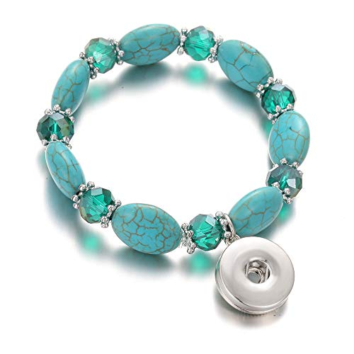 DLIAAN Armband Mode Druckknopf Charme Armband Armband Naturstein Perlen Elegante Grüne Elastische Runde Perlen Snap Armband Für Frauen Männer Paar Armbänder -