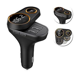 Favoto Bluetooth FM Transmitter KFZ Auto Radio Adapter Freisprecheinrichtung Car Kit drehbar mit Dual USB Port QC3.0 und 2.4A für IOS Android