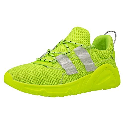 CUTUDE Herren Mesh Atmungsaktiv Rutschfeste Outdoor Athletisch Sneaker für Gym Walking Jogging Laufen Basketball Turnschuhe Volltonfarbe Wilde Freizeitschuhe Frühling Sommer (Grün, 42 EU)