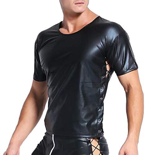 Fxwj Herren Shirt Leder Latex Verstellbar Bondage Tops Kurzarm Unterhemd Reizwäsche Stretch Clubwear S-XXL,XXL