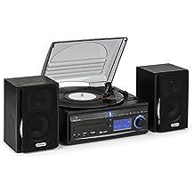 auna MG-DS2 • Stereoanlage • Plattenspieler • Multimediaanlage • Riemenantrieb • max. 45 U/min • Lautsprecher Paar • Bassreflex • Radiotuner • UWK • USB- und SD-Port • MP3-fähig • Digitalisierungsfunktion • CD-Player • AUX • Fernbedienung • schwarz