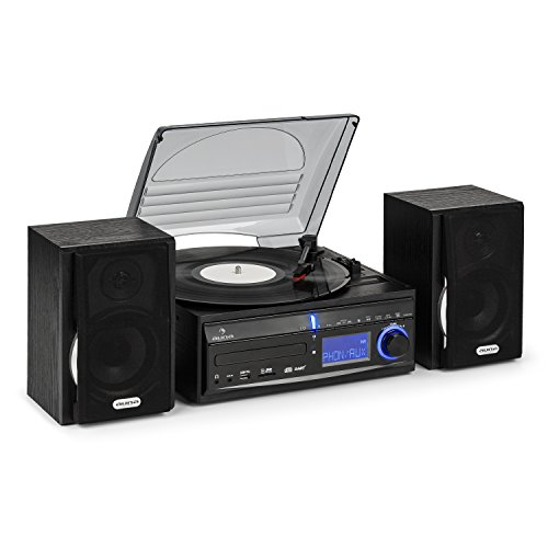 auna MG-DS2 • Stereoanlage • Plattenspieler • Multimediaanlage • Lautsprecher Paar • Bassreflex • UKW Radiotuner • USB- & SD-Port • MP3-fähig • Digitalisierungsfunktion • CD-Player • AUX • schwarz