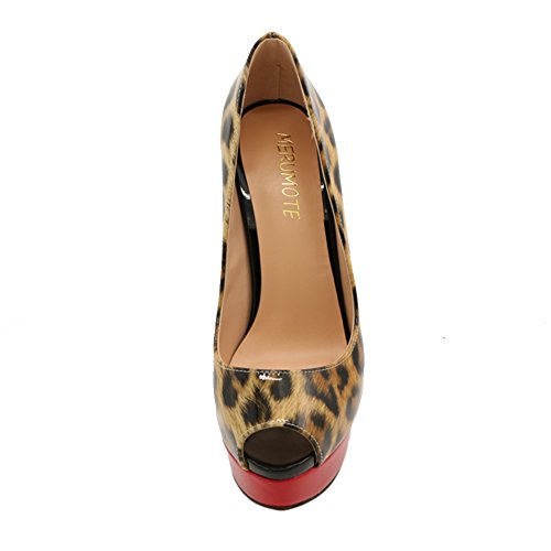MERUMOTE Damen Stilett Lackleder Peep Toe Plattform Hochzeit Pumps EU 35-46 Leopard-Lackleder