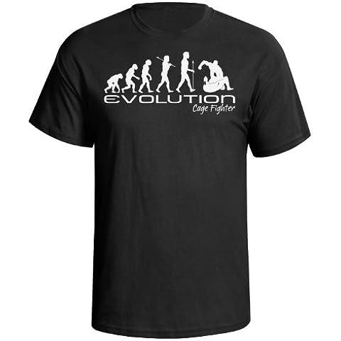 Evolution of a cage fighter Mens Uomo Maglietta ufc mma martial arts funny unique gift present t shirt Black shirt white print