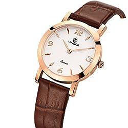 Ladies leather strap watch/Quartz water resistant watch/Simple slim watch-B