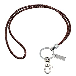 Leather Lanyard, Boshiho Lanyard Neck Strap with Strong Clip and Keychain for Keys, ID Badge Holder, USB or Cell Phone
