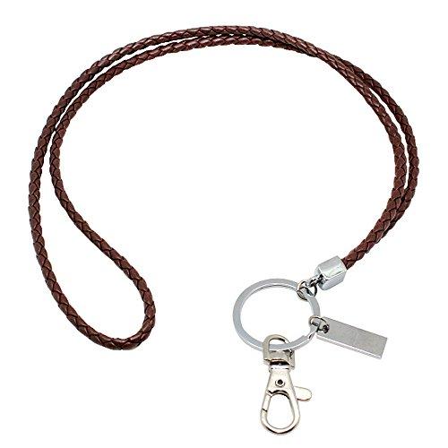 Boshiho Leder-Umhängeband, mit starkem Clip und Schlüsselanhänger für Schlüssel, Ausweiskartenhalter, USB-Stick oder Handy 40,6 cm Brown 1