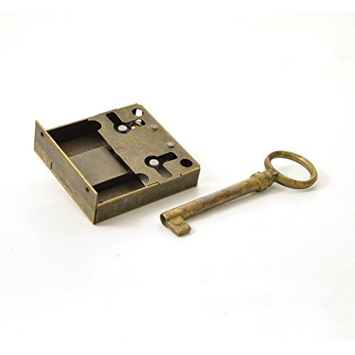 Kastenschloss (Dornmaß 35 mm) und Schlüssel aus Messing