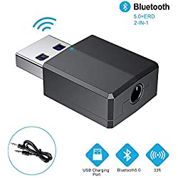 Adaptador Bluetooth,Transceptor de Audio inalámbrico y Receptor Transmisor 2 en 1 5.0 con Cable Auxiliar Digital de 3.5 mm para PC/TV/Auriculares/Altavoces/Radio/Reproductor de CD Auriculares (Negro)