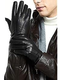 b663a94a14d9b3 ZQ-Collection Handschuhe Herren Leder Handschuhe echtes Lammleder und mit  Kaschmir Wolle gefütterte warme Winter