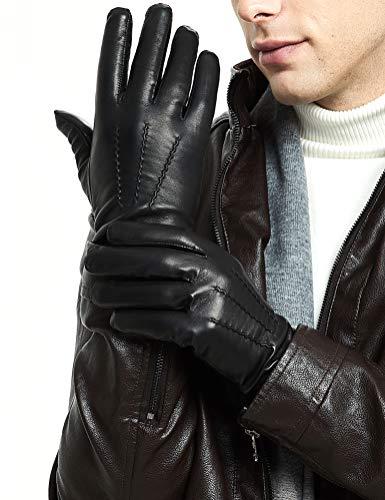ZQ-Collection Handschuhe Herren Leder Handschuhe echtes Lammleder und mit Kaschmir Wolle gefütterte warme Winter Handschuhe Warme Wolle Handschuhe