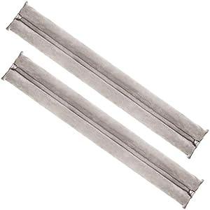 com-four® 2X Zugluftstopper für die Tür - Mikrofaser Türbodendichtung - Luftzugstopper mit Doppeldichtung - Schutz vor Luftzug und Lärm (02 Stück - beige)