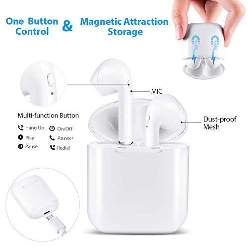 Auriculares Bluetooth,  Auriculares Inalámbricos Bluetooth,  con HD Micrófono y Caja de Carga,  Auriculares Intrauditivos para iPhone Samsung y Otros Teléfonos Inteligentes