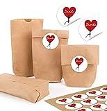 24 kleine braune Papiertüten natur Kraftpapier 9 x 15 x 3,5 cm + 24 runde Aufkleber DANKE HERZ ROT Herzmensch Verpackung Geschenk mini-Tüte