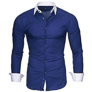 Kayhan Hombre Camisa Manga Larga Slim Fit S M L XL 2XL – Modello Mailand