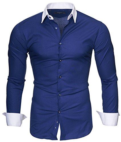 Kayhan Slim Fit Herren Hemd Model Milano Dunkelblau