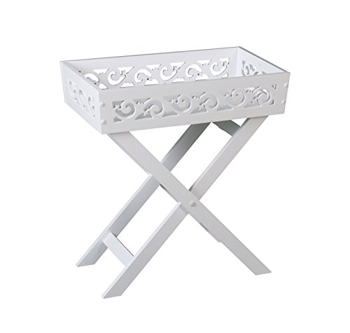 ASPECT French Country Folding tray/Wooden Foldable Detachable Butler Table/Serving Tray-White, Wood, White (Tray Butler)