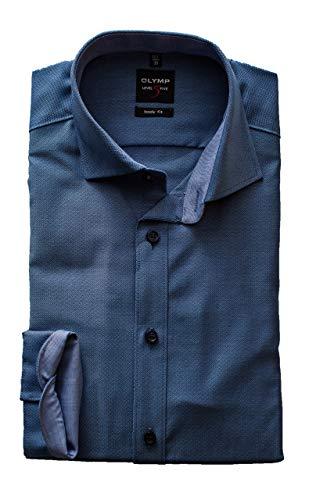 Olymp Hemd Level 5 Five Body Fit, Gemustert, Langarm 64cm, Comfort Stretch, Royal Kent Kragen (40, Blau)