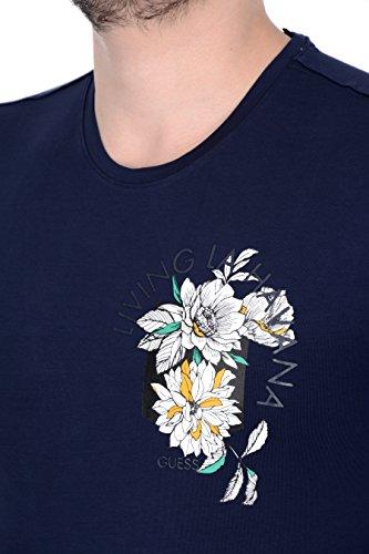 T-shirt fiori slim uomo Guess M72I54J1300 blu Blu