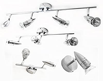 Choice of 1 2 3 or 4 Bar & Spiral Ceiling Light Fittings Spot Light ~ Chromed or Brushed Steel. Single Double Triple or Quad Head or Spiral Shaped Lamps. 240v UK Electric. GU10 50w Bulbs