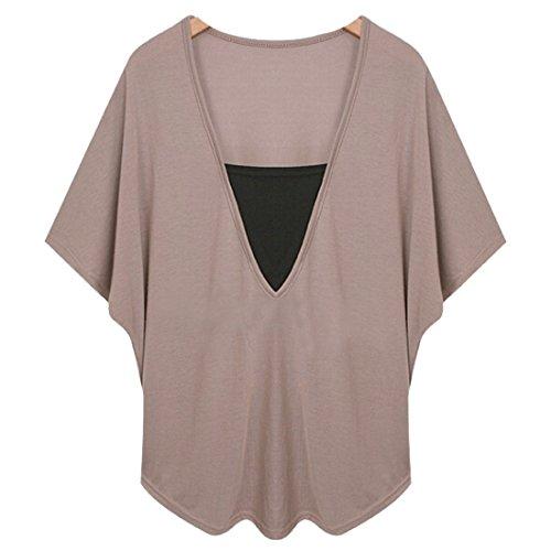 faux deux pièces à manches kimono pullover batwing culture cou V été tops blouse Kaki