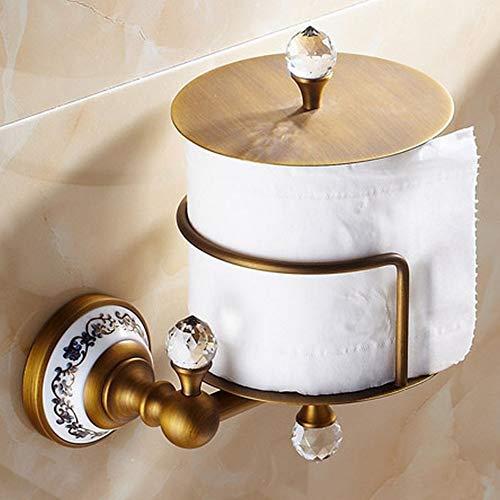 Messing Toilettenpapier Halter (Antik Messing Wc Halter Toilettenpapier Veranstalter Vintage Style Badezimmer Box Wall Mount Papers Roll Küchentuch200)